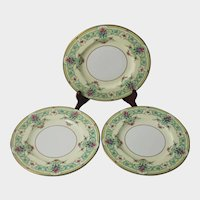 3 Royal Worcester Dessert Plates England Sussex Flowers Gold Trim