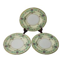 3 Royal Worcester Dessert Plates England Sussex Floral