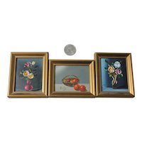 3 Small Still Life Oil Paintings Mid Century Art