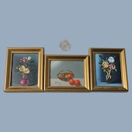 3 Small Still Life Oil Paintings Mid Century Art
