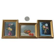 3 Still Life Oil Paintings Flower Vase Fruit Basket Small Roly