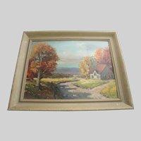 Art Oil Painting HILLIER  Autumn Landscape House Framed