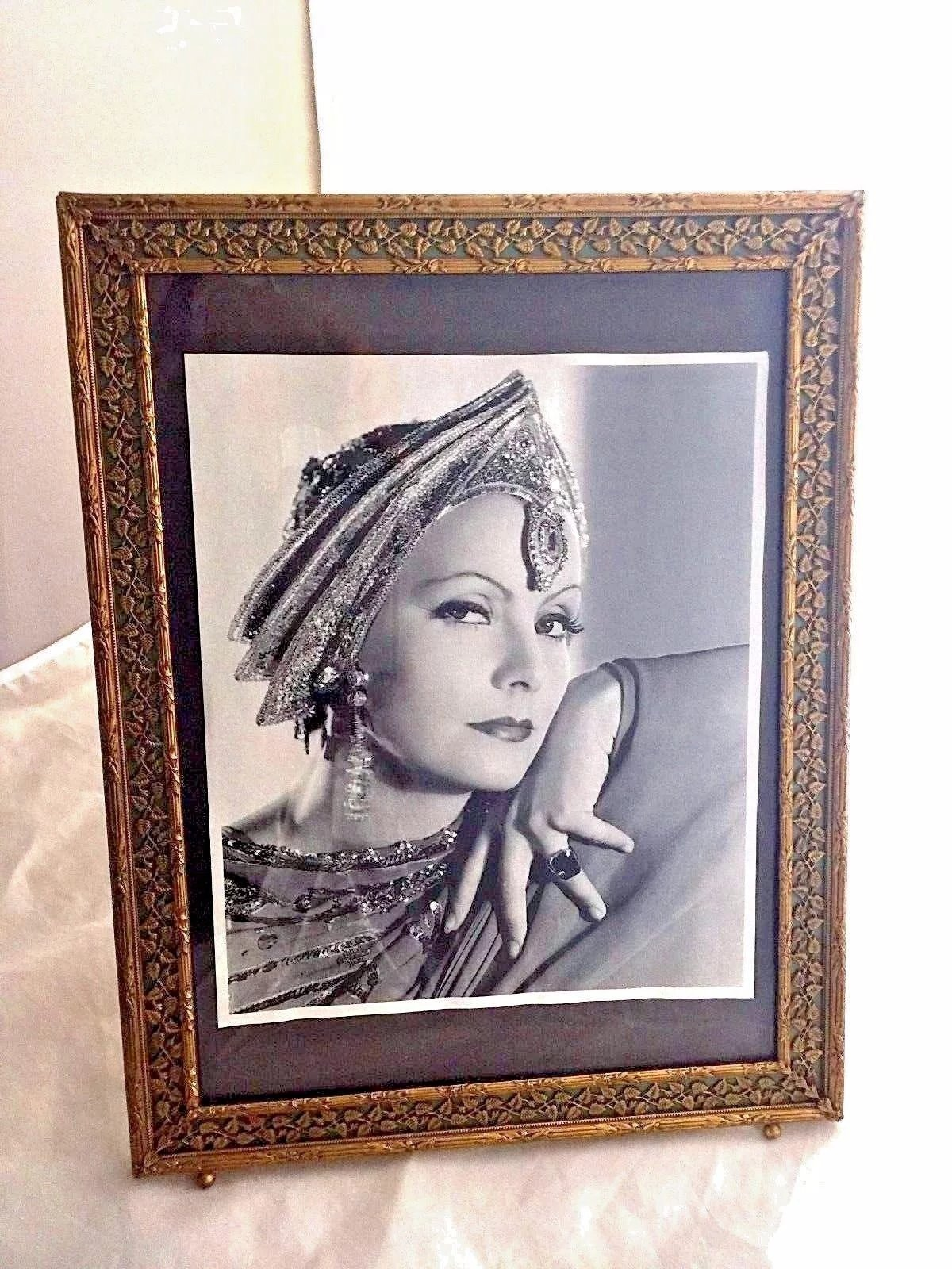Art Deco Picture Frame Reverse Painting On Glass Brass