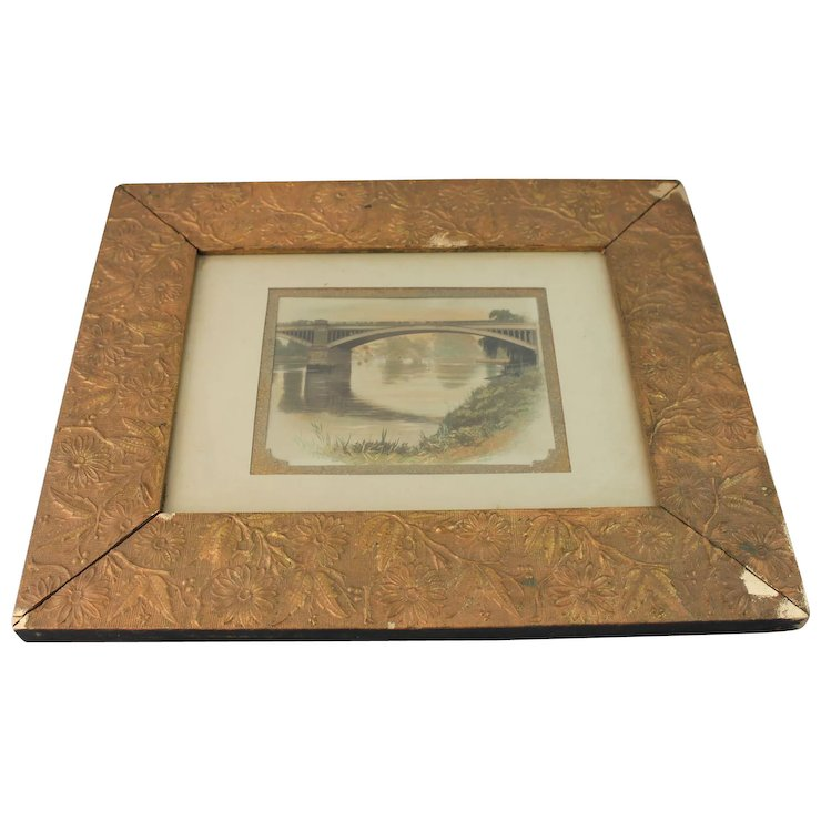 Aesthetic Movement Picture Mirror Frame Gesso Gold Painting 1880