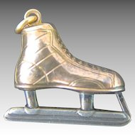 14K Gold Ice Hockey Skate Pendant Charm Art Deco Watch Fob Sterling Silver Jewelry Vintage 1940 's