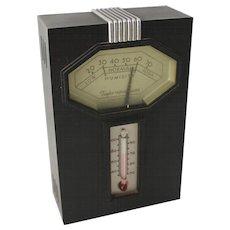 Vintage Art Deco Barometer Chrome Black Taylor Machine Age Hampton Model - Red Tag Sale Item