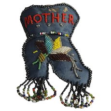 Antique Iroquois Beaded Wall Pocket Boot Native North American Whimsey Mother