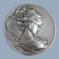 Art Nouveau Brooch North Wind Maiden - Paris Exposition 1889 - Jewelry Pin