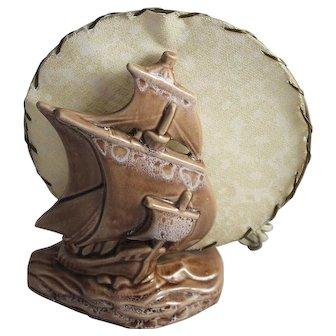 Vintage 1950's TV Lamp Art Pottery Galleon Sailing Ship