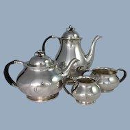 COHR Denmark Silver plate Tea Coffee Set Jensen Era Vintage Mid Century Danish Modern