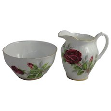 Vintage Royal Albert China Cream & Sugar Royal Canadian Rose