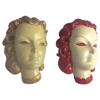 Vintage Art Deco Mid Century Lady Chalkware Head Bust Wall Mask Decor Pair