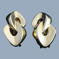 Vintage Alfred Sung Designer Earrings Clip On Gold Tone Fashion Jewelry