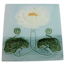 Art Nouveau Majolica Tile Water Lily Art Pottery Porcelain - Red Tag Sale Item