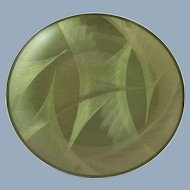 Vintage CATHRINEHOLM Norway Sage Green Plate Dish Feather Mid Century Danish Modern