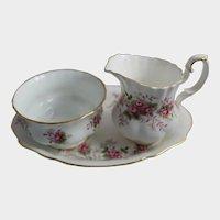 Royal Albert China Cream & Sugar Tray Lavender Rose England Creamer Bowl Set Plate