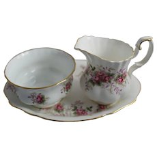 Vintage Royal Albert China Cream & Sugar Tray Lavender Rose Pattern England Creamer Sugar Bowl Set Plate