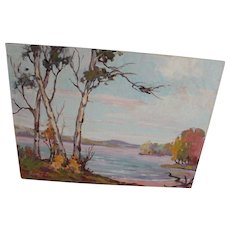 Oil Painting Anne J. Ziegler Canadian Group Style Art Canada Mazinaw Lake ON Vintage