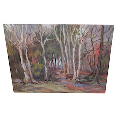 Oil Painting Anne Jaffray Ziegler Canadian Group Style Art Canada Vintage ON Forest Sunlight