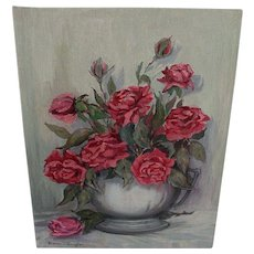 Oil Painting Anne Jaffray Ziegler Canadian Group Style Art Canada Red Roses Flowers Floral Still Life Vintage