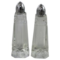 Cut Glass Crystal Salt and Pepper Shakers Vintage Pair