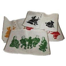 4 Inuit Art Placemats Textile Silk-Screened Eskimo Holman NWT Canada