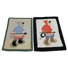 Vintage Grenfell Hooked Rug Folk Art Mat Newfoundland Labrador
