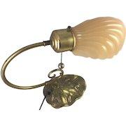 Vintage Art Deco Nouveau Lamp Shell Glass Shade Flowers Spelter Sconce Desk Table Bedside Light