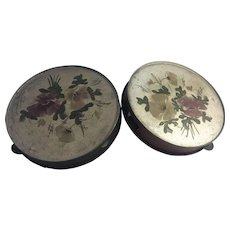 2 Antique Tin Toleware Tambourines Folk Art Musical Instrument Hand Painted Tole Vintage Florals Wall Decor Shabby Cottage