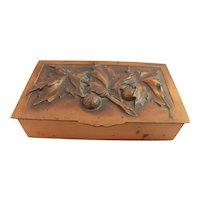 Art Deco Copper Box Repousse Albert Gilles Humidor Cigarette