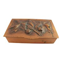 Gilles Art Deco Copper Box Repousse Humidor Cigarette