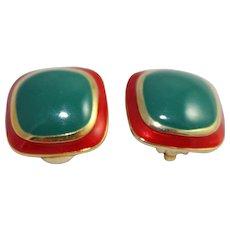 Vintage Designer Nina Ricci Earrings Clip On Gold Tone Fashion Jewelry Earrings