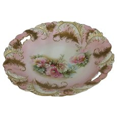 Antique RS Prussia Cake Tray Pink Gold Feathers Red Mark Flowers Art Nouveau Porcelain Dish Florals
