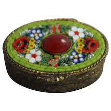 Vintage Micro Mosaic Pill Patch Box Trinket Vanity Italy Folk Art Flowers Snuff Glass Cabochon
