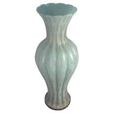 "Vintage 14"" Murano Vase Controlled Bubble Aventurine Mid Century Modern Italian Art Glass"