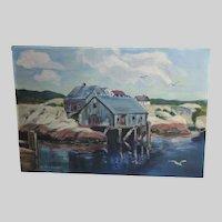 Oil Painting Peggy's Cove Nova Scotia Art O. Jackson Canada Nautical Coastal Scene