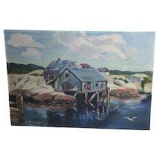 Peggy's Cove O. Jackson Oil on Board Nova Scotia Seascape Art Painting Canadian Canada Nautical