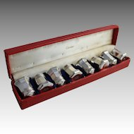 CARTIER Sterling Silver Individual Salt Pepper Shakers Pots Set of 8 Vintage Boxed