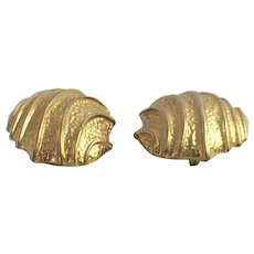 Vintage Yves St Laurent Earrings Clip On Designer Gold Tone Fashion Costume Jewelry Signed