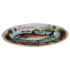 Antique Hand Painted Porcelain Fish Platter Limoges Large Serving Decorative Plate Tray Server Victorian