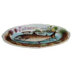 Antique Hand Painted Porcelain Fish Platter Limoges Large Serving Decorative Plate Tray Server Victorian