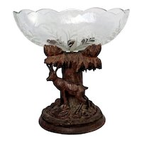 Antique Black Forest Carved Wood Deer Glass Bowl Centerpiece Folk Art