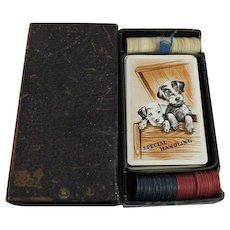 Playing Cards Poker Chips Original Box Set Vintage Terrier Puppies Game