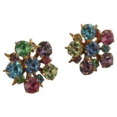 Vintage PIERCED Earrings Rhinestones Crystal Multi Color Cluster