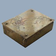 Antique Postage Stamp Box Brass Art Nouveau Jugendstil Arts & Crafts Movement