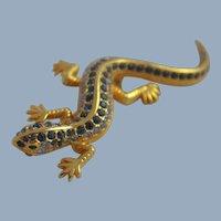 Costume Jewelry Pin Brooch Figural Lizard Rhinestones Blue Vintage Mid Century