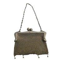 Art Nouveau Mesh Ladies Purse Handbag Antique Fashion German Silver