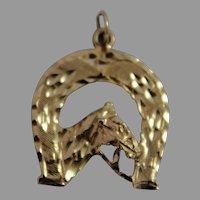 10K Gold Pendant Horse Horseshoe Charm Watch Fob Equine Western Jewelry Vintage