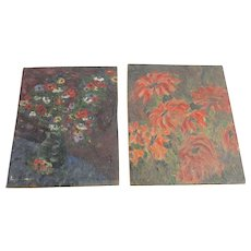 2 Floral Still Life Oil on Board Paintings Flowers Vase Small Pair Original Art