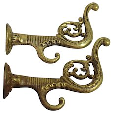 Antique Brass Coat Hooks Hall Tree Cast Fancy Victorian Wall Hat Pair Storage Old House Hardware